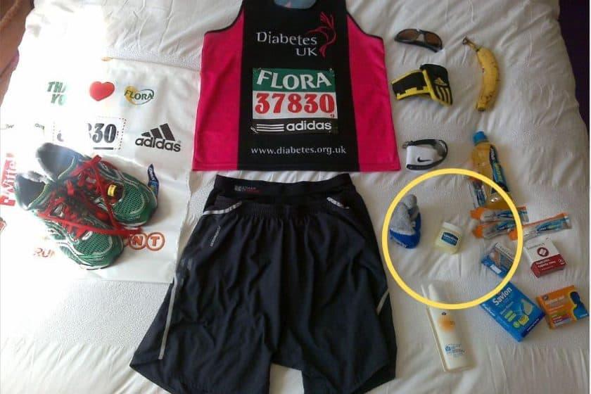 Vaseline is part of a marathon runner's gear.